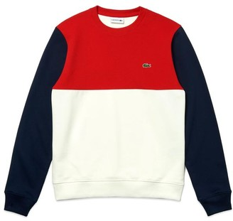Lacoste Colour Block Crew Neck Sweat SH5185 White Red Navy - 6/Extra Large