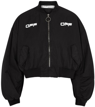 Off-White Black printed shell bomber jacket