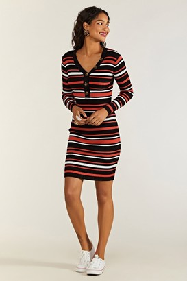 Yumi Knitted Stripe Body Con Dress With Butto
