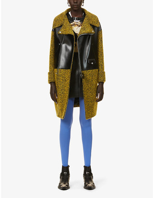 Junya Watanabe Faux leather-patch herringbone-pattern wool-blend coat