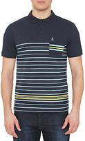 Original Penguin Striped Pocket Polo Shirt, Dark Sapphire