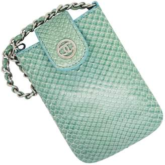 Chanel Turquoise Python Clutch bags