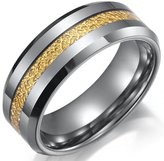 R&B Jewelry Impressive Tungsten Ring Mens Wedding Band 8mm (Gold Silver)