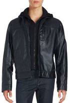 Calvin Klein Layered Faux Leather Zip-Front Jacket