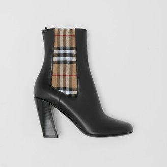 Burberry Vintage Check Detail Leather Ankle Boots