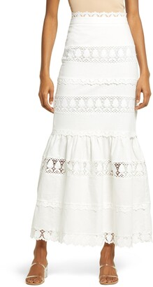 Endless Rose Lace Trim Ruffle Maxi Skirt