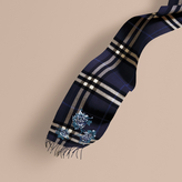 Burberry Oversize Peony Rose Embroidered Check Cashmere Scarf, Blue