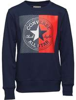 Converse Boys Colourblock Mesh Filled CTP Crew Neck Sweatshirt All Star Navy
