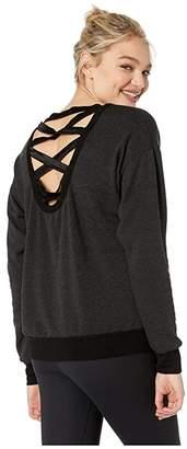 Hard Tail Satin Lattice Back Pullover (Black) Women's Clothing