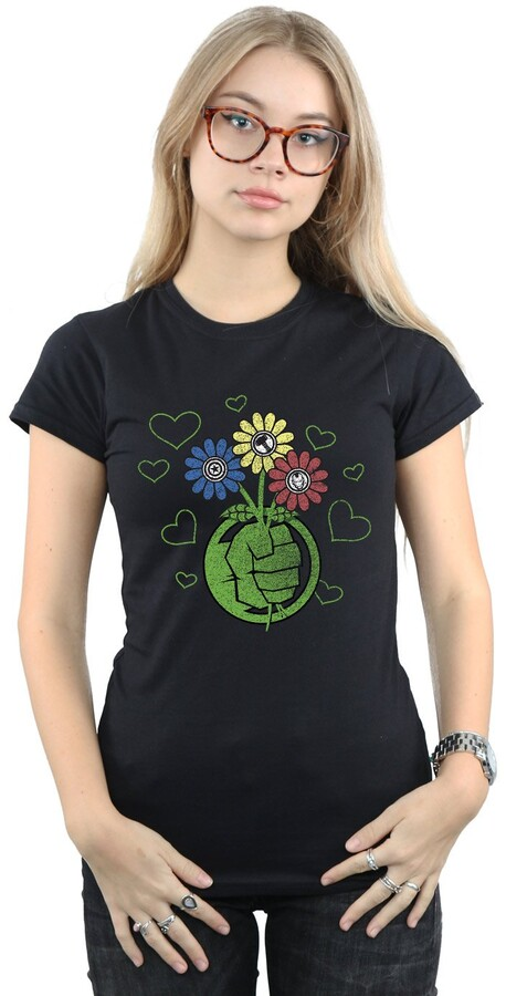 Marvel Women's Hulk Flower Fist T-Shirt Small Black