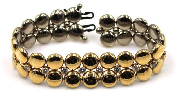 "Cartier 18K Two Tone Gold Diamond Bracelet Size 7"""