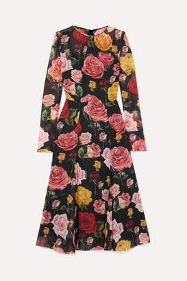 Dolce & Gabbana Floral-print Silk-blend Georgette Midi Dress - Black