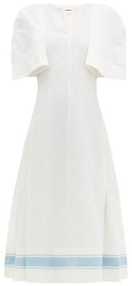 Jil Sander Slit-sleeve Cotton-blend Dress - White Multi