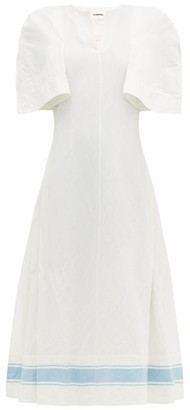 Jil Sander Slit-sleeve Cotton-blend Dress - Womens - White Multi