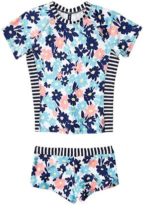 Splendid Littles Never Enough Rashguard and Swimshorts (Big Kids) (Navy) Girl's Swimwear Sets