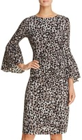 Tracy Reese Flounce Sleeve Animal Print Dress