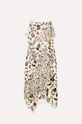 Jason Wu Ruffled Floral-print Devore Silk-blend Midi Dress - Off-white