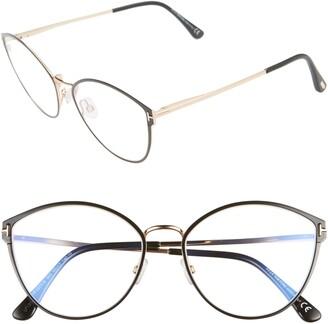 Tom Ford 55mm Blue Light Blocking Round Optical Glasses