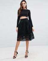 Forever Unique Skater Skirt With Mesh Overlay