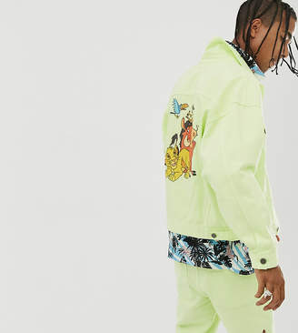 Asos Design Disney The Lion King x DESIGN oversized denim jacket with character back print-Yellow