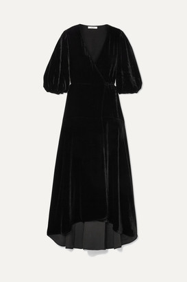 Ganni Velvet Wrap Dress - Black
