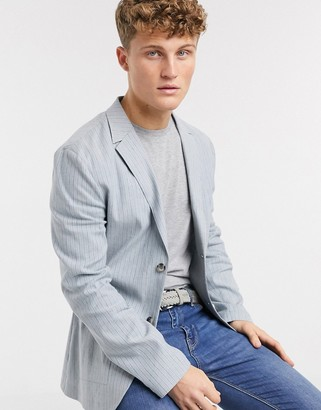 ASOS DESIGN skinny casual linen blazer in light blue stripe