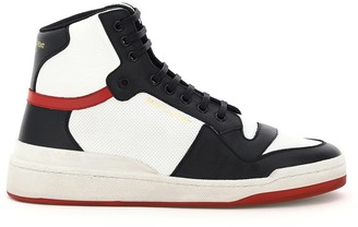 Saint Laurent SL24 MULTICOLOUR HI-TOP LEATHER SNEAKERS 39 Black, White, Red Leather