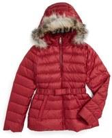 Burberry 'Janie' Genuine Fox Fur Trim Down Jacket (Little Girls & Big Girls)