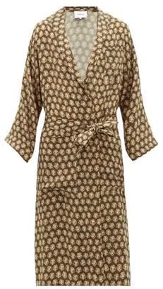Nanushka Kimo Batik-print Cupro Robe - Mens - Khaki Multi