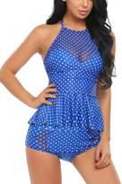 Avidlove Women High Waist Swimsuit 2 Pcs Ruffle Tankini Retro Halter Bathing Suit