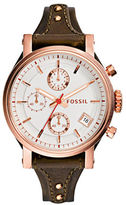 Fossil Ladies Neutrals Original Boyfriend Rose Goldtone Brown Leather Strap Watch