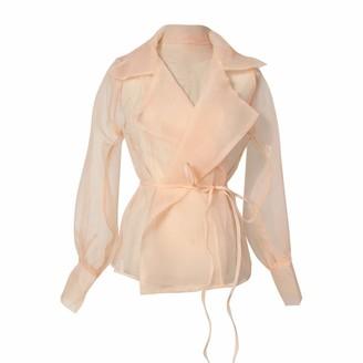 Hertsen Fashion Womens Elegant Organza Mesh Perspective Lace Up Long Sleeve Top Shawl Suit Jacket Coat (Pink L)