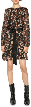 Cue Mini Paisley Blouson Sleeve Dress