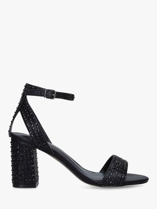Carvela Wide Fit Kianni Stud Jewelled Block Heel Sandals, Black
