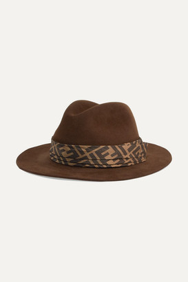 Fendi Printed Silk Twill-trimmed Rabbit-felt Fedora - Dark brown