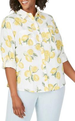 Foxcroft Zoey Lemon Print Cotton Shirt
