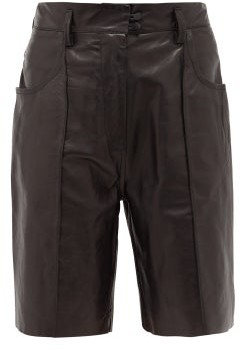 Petar Petrov Hugo High-rise Leather Shorts - Black