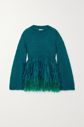 Dries Van Noten Fringed Mohair-blend Sweater - Blue
