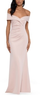 Xscape Evenings Off-The-Shoulder Ruched Gown