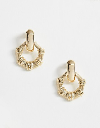 ASOS DESIGN earrings with open bamboo circle in gold tone