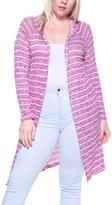 Raspberry Stripe Hood-Accent Long Open Cardigan - Plus