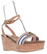 Tommy Hilfiger Hesley Wedge Platform Ankle Strap Sandals, Blue Multi.