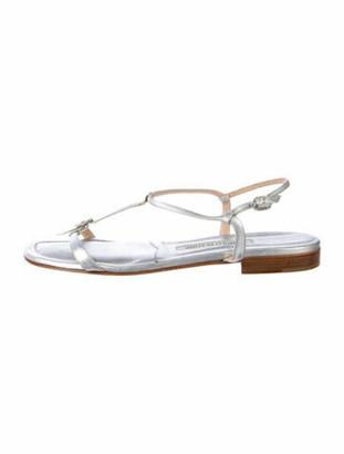 Manolo Blahnik Leather T-Strap Sandals Silver