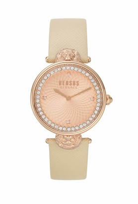 Versus By Versace Women's Victoria Harbour Rose Gold Quartz Watch with Leather Calfskin Strap