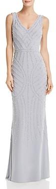 Aqua Embellished Column Gown - 100% Exclusive