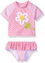 Little Me Baby Daisy Dot Two-Piece Rashguard Swimsuit Upf 50+