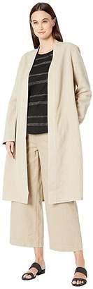 Eileen Fisher Tencel Linen Kimono Long Sleeve Jacket w/ Side Slits (Khaki) Women's Clothing