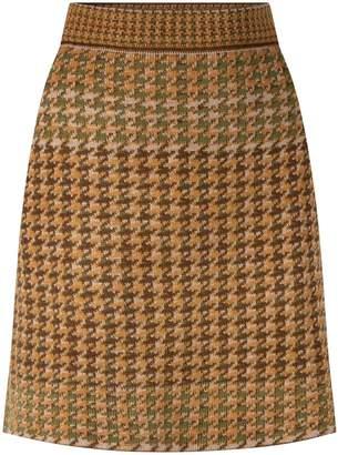 Studio Myr Knitted Knee Length Pencil Skirt In Pieds-De-Poule Pattern Tweed-Moss