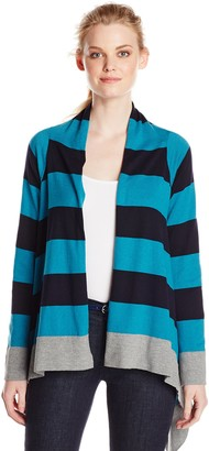 Jones New York Women's Stripe Drape Front Cardigan