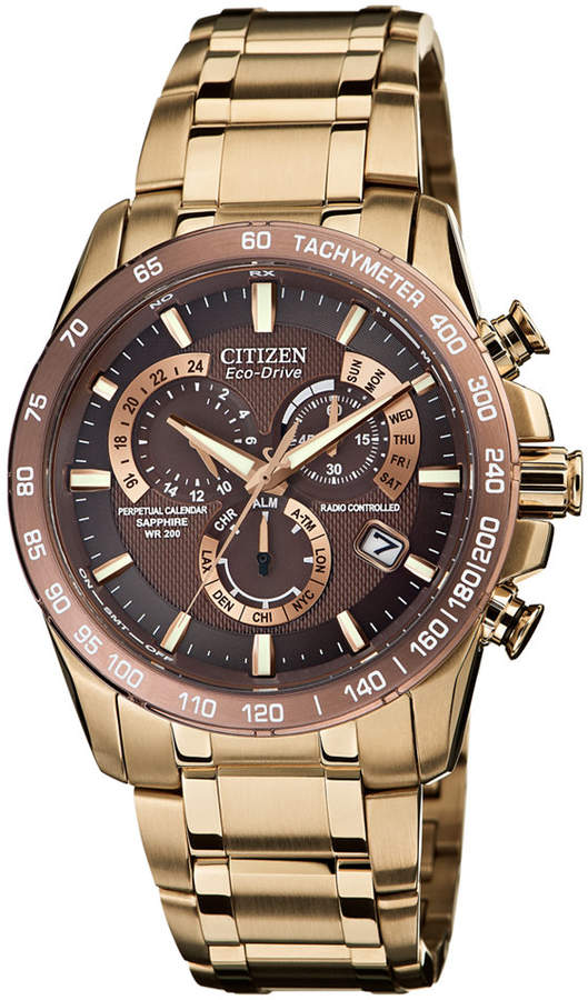 Citizen Men's Eco-Drive Perpetual Chrono A-t Rose Gold-Tone Stainless Steel Bracelet Watch 42mm AT4106-52X